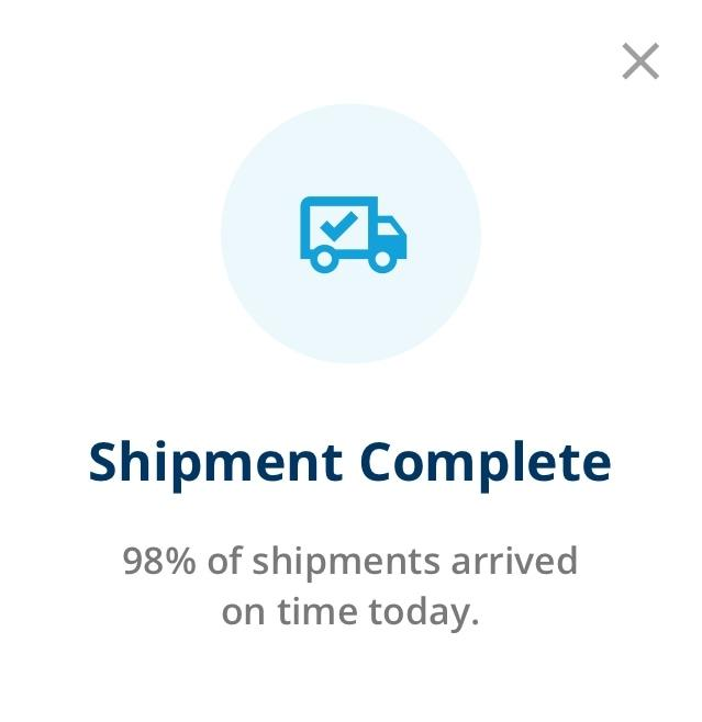 app screenshot of shipment complete notification