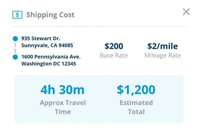 app screenshot of shipping cost calculations