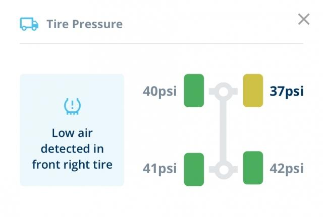 app screenshot of tire pressure monitoring