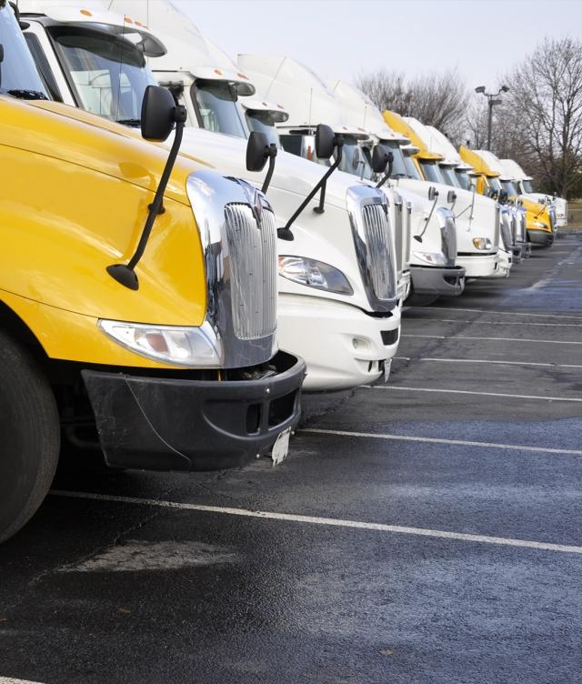truck fleet in parking lot