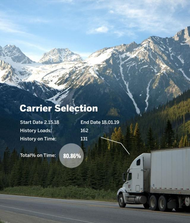 Truck on Road with Carrier Selection Information